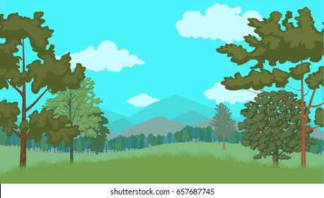 Forest. Vector illustration, a flat style design.
