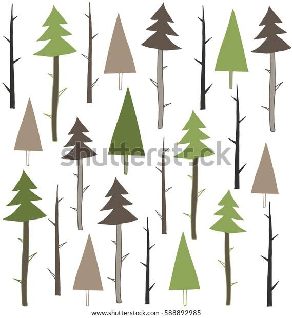 Forest vector pattern. Seamless hand drawn background with pines and trees in shades of green and brown.