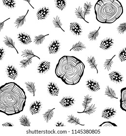 Forest vector seamless pattern with pine branches, pine cones and tree rings
