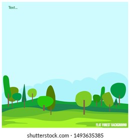 Forest vector and sky Blue , Cartoon illustration background of forest , Nature , Forrest , Fresh sky