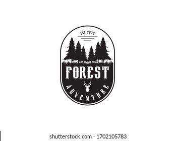 forest vintage logo design template vector