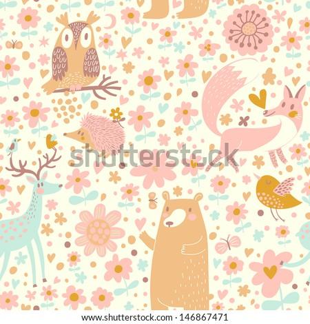 Forest Wallpaper Bear Owl Fox Deer Stock Vektorgrafik Lizenzfrei