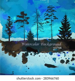 Forest watercolor. Vector
