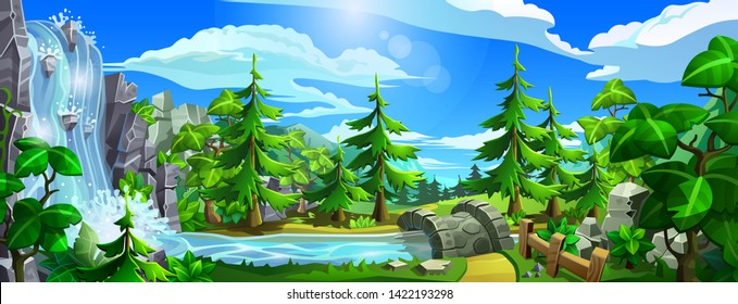 Forest with waterfall, river, leave trees and spruces. Panorama of cartoon, coniferous forest with mountains. Vector illustration.