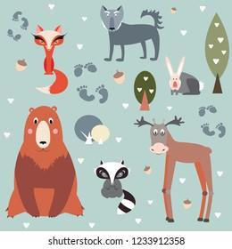 forest wild animals pattern