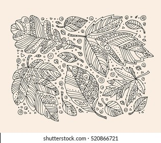 Forest wild leaves. Happy Thanksgiving day. Vector. Hand drawn artwork. Set collection. Bohemia concept for greeting card, ticket, branding, logo, label. Coloring book page for adult. Black and white