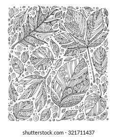 Forest wild leaves. Vector. Hand drawn artwork. Set collection. Bohemia concept for invitations, cards, tickets, congratulations, branding, logo, label. Coloring book page for adult. Black and white