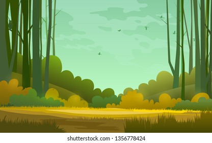 Forest wilderness landscape. Abstract background. Template for your design works. Copy space in the center. Vector illustration