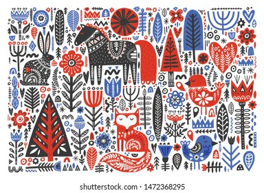 Forest wildlife in folk style flat vector illustration. Wild animals with Scandinavian floral decoration. Cute hare, fox, bird, horse with nordic ornate symbols. Postcard, banner, textile print