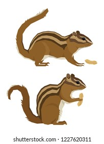Forest Wildlife Vector animals Geometric style Chipmunks and peanuts set