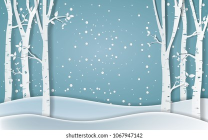 Forest of winter season,Paper vector Illustration
