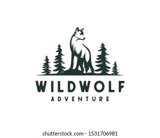 forest wolf logo, outdoor vector illustration