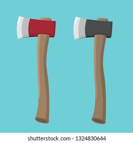 Forester ax vector icon. Axes with black and red blade and wooden handle. Illustration of a weapon ax in flat minimalism style.