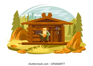 Forester sitting on porch vector illustration. Cartoon old man with gray beard near wooden forest house flat style concept. Picturesque pinewood landscape