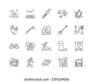 Forestry line icons, signs, vector set, outline illustration concept