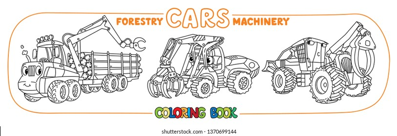 Forestry machinery cars with eyes coloring set