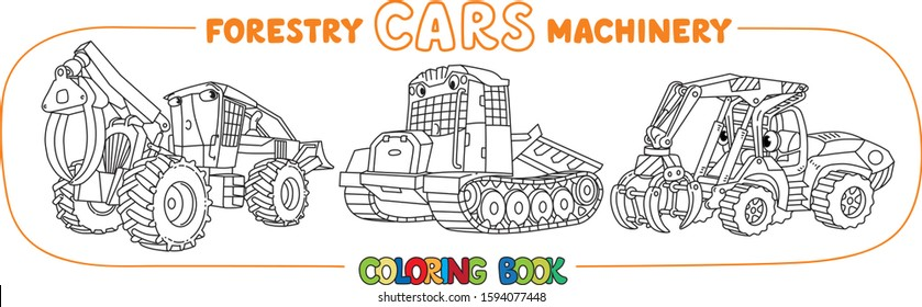 Forestry machinery. Skidder cars coloring book set
