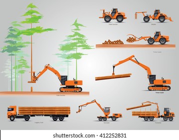The forestry production machines. Forestry tractors, trucks and loggers hydraulic machinery detailed editable silhouettes illustration collection background vector. Equipment for forestry industry