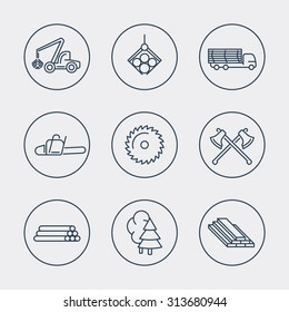 Forestry, Timber, Tree Harvester, Sawmill line icons, vector, eps10