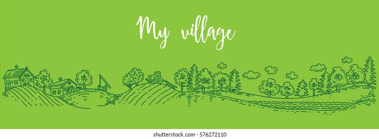 forests, country house and farm,  beautiful forest panorama