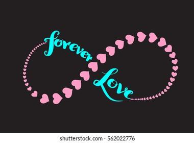 Forever love card. Hand drawn romantic phrase. Ink illustration. Modern brush calligraphy. Isolated on white background. Romantic hand drawn phrase. Heart infinity symbol.