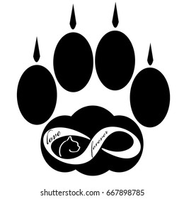Forever love icon with cat paw  isolated on white background. Vector illustration.