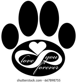 Forever love icon with dog paw isolated on white background. Vector illustration.