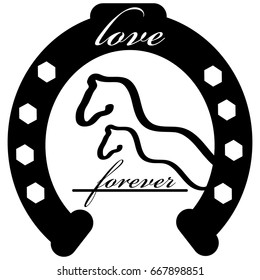 Forever love icon with horse shoe isolated on white background. Vector illustration.