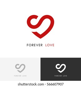 Forever love logo - red heart and infinity symbol. Valentine and relationship vector icon.