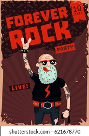 Forever Rock. Old school music. Funny poster