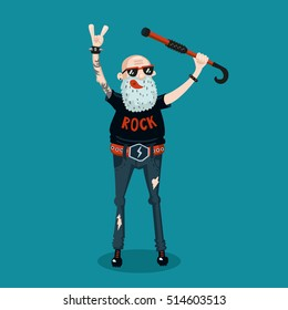 Forever young. Funny old rock fan. Active senior man.
