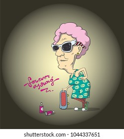 Forever young old lady