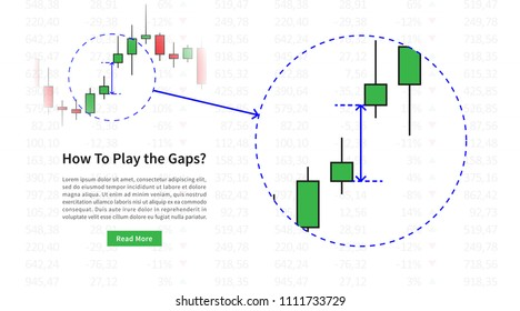 Forex gap vector illustration. Gap between open and close prices of stock market.