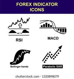 Forex indicator icons set. Collection of black vector icons of technical analysis indicators (RSI, MACD, parabolic SAR, Bollinger bands).