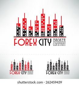 Forex logo design. Broker company concept icon.