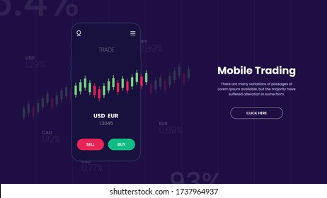 Forex mobile stocks trading app banner for financial market business with graph chart analysis. vector illustration flat with candlestick.