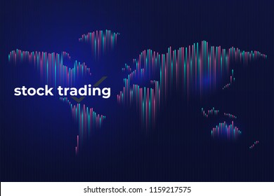 Forex stock exchange graph global business. Investment trading on dark background. A world map in the form of a bar graph. Template for the site of trade on the exchange. Vector illustration.