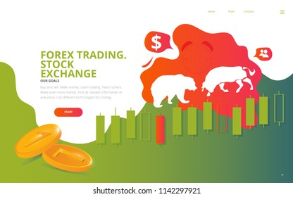 Forex Stock market exchange illustration. Great as Forex mobile site wireframe, stock market business web page, trading development conference poster or ticket template.