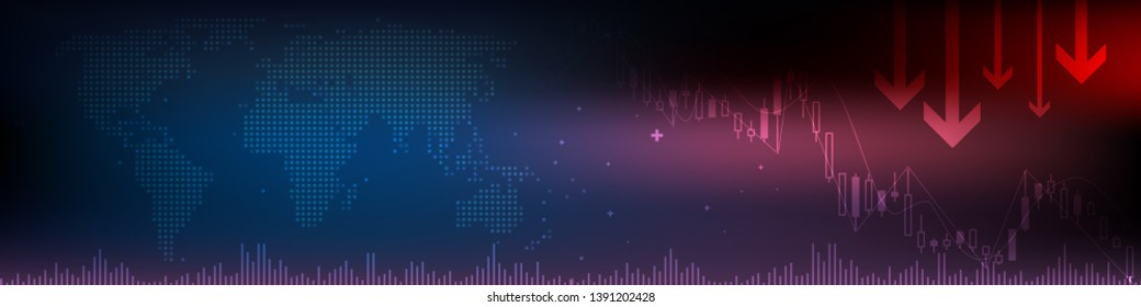 Forex, stock market trading chart vector banner; business finance abstract background.