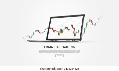 Forex stock trade promo page with laptop (notebook) vector illustration. Web banner template for trading companies graphic design. Financial chart to buy and sell for stock exchange market concept.