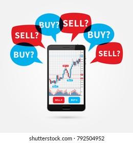Devisen-Handelskünstler-Diagramm auf Smartphone-Bildschirm mit Sprachblasen kaufen und verkaufen Vektorgrafik. Börsenmarktdiagramm zum kreativen Konzept mobiler Geräte. Grafik-Design der Devisenhandelskarte