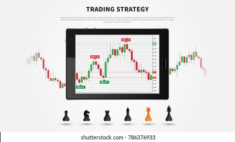 Forex trading chart on tablet vector illustration. Tablet screen with digital candlestick graph of stock market. Forex (currency exchange market) trading candlestick chart graphic design.
