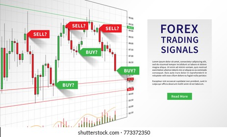 Forex Trading Indicators vector illustration. Online trading signals to buy and sell currency on the chart concept. Buy and sell indicators for forex trade on the candlestick chart graphic design