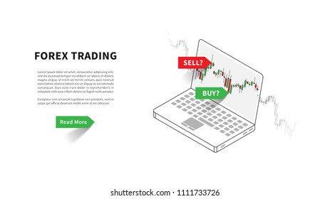 Forex trading landing page vector illustration. Laptop with trading candlestick chart (graph) graphic design. Landing page template for fintech projects.