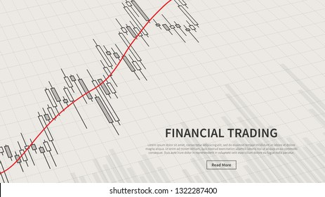 Forex trading promo page with financial chart and moving average line vector illustration. Web banner template for stock trade graphic design. Financial graph to buy and sell for stock exchange market