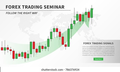 Forex trading seminar with candlestick chart vector illustration. Financial market candlestick graph with green arrow graphic design. Financial education for stockbrokers creative concept.