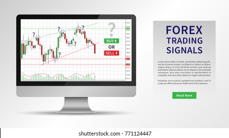 Forex Trading Signals vector illustration. Investment strategies and online trading signals on desktop computer concept. Buy and sell indicators for forex trade on the candlestick chart graphic design