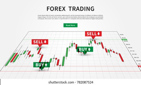 Forex Trading Signals vector illustration. Buy and sell indicators for forex trade on the candlestick chart graphic design.