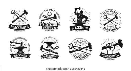 Forge, blacksmith logo or label. Blacksmithing set of icons