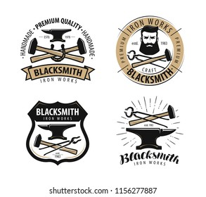 Forge, blacksmith logo or label. Blacksmithing set of emblems